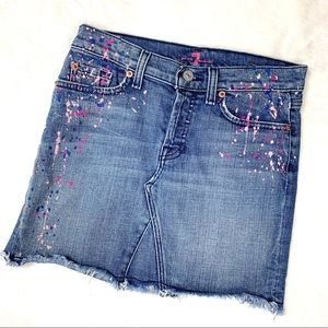 7 For All Mankind Denim Pink Paint Splatter Skirt